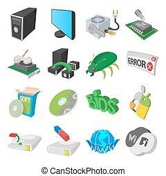 style, service, icônes, ensemble, informatique, dessin animé