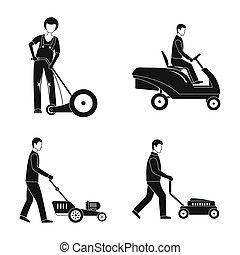 style, service, icônes, ensemble, tondeuse, simple, homme