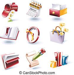 style, set., 1, vecteur, p., dessin animé, icône