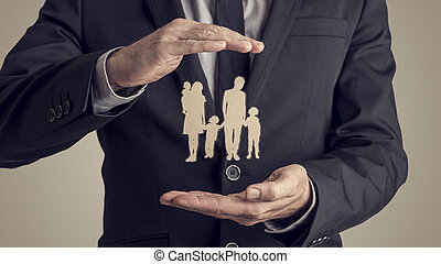 style, silhouette, famille, image, retro, homme affaires, protéger