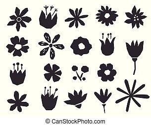style., silhouettes, géométrique, noir, fleurs, isolé, objets, arrière-plan., blanc