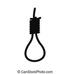 style, simple, corde, noir, icône, boucle