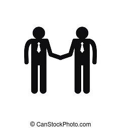 style, simple, hommes, deux mains, icône, secousse