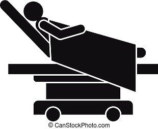 style, simple, lit hôpital, icône, homme