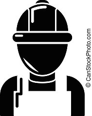 style, simple, noir, mécanicien, icône, homme