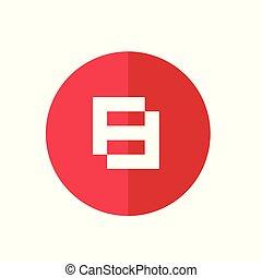 style, simple, -, nombre, couleur, vecteur, conception, 8, icône, logo, cercle, blanc rouge
