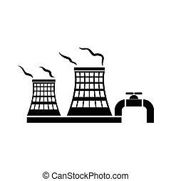 style, simple, usine, chimique, icône, tour