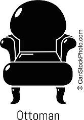 style, simple, vendange, noir, fauteuil, icône