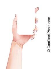 style, smartphone, moderne, main, vecteur, tenue, girl