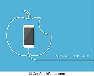 style, smartphone, screen., gift., téléphone, wire., cellphone, charger, gâteau, surprise, ligne, blanc, présent