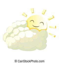 style, soleil, derrière, icône, dessin animé, nuage