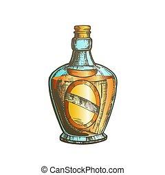 style, soufflé, couleur, casquette, bouchon, vecteur, bouteille, écossais