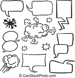 Style speech bubble set collection
