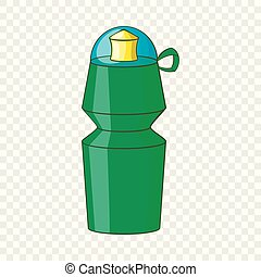 style, sports, bouteille eau, icône, dessin animé