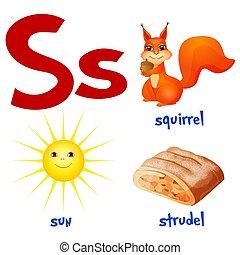 style., sprytny, alphabet., wektor, s, litera, słońce, płaski, strudel., rysunek, dzieciaki, wiewiórka