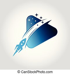 style., statek, ilustracja, wektor, płaski, przelotny, rakieta