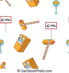 style, station, dessin animé, modèle, stationnement