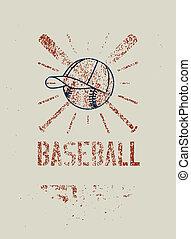 style, stencil, grunge, illustration., éclaboussure, typographique, vecteur, base-ball, retro, poster.