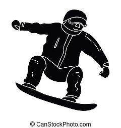 style, stockage, athlète, symbole, snowboarder, actif, bleu...