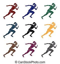 style, stockage, girl, symbole, athletics., noir, actif, ...