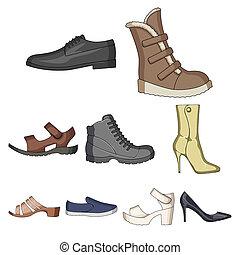 style, stockage, icônes, raster, symbole, différent, ensemble, icône, variété, chaussures, dessin animé, unique, illustration., bitmap, shoes.