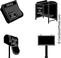 style, stockage, journaux, icônes, symbole, noir, web., illustration, ensemble, boîte, vecteur, collection, arrêt, courrier, publicité, autobus, billboard.