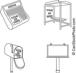 style, stockage, journaux, icônes, symbole, web., illustration, contour, ensemble, boîte, vecteur, collection, arrêt, courrier, publicité, autobus, billboard.