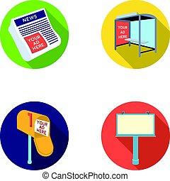 style, stockage, journaux, icônes, symbole, web., illustration, ensemble, billboard., boîte, vecteur, collection, arrêt, courrier, publicité, autobus, plat