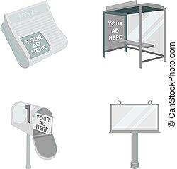 style, stockage, journaux, icônes, symbole, web., illustration, ensemble, boîte, vecteur, collection, arrêt, courrier, publicité, autobus, monochrome, billboard.