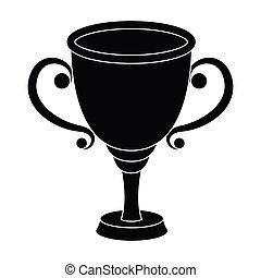 style, stockage, récompense, gagnant, symbole, noir, or, courses, illustration., place., icône tasse, competition., vecteur, unique, récompenses, premier, trophées