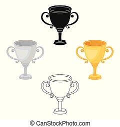 style, stockage, récompense, gagnant, symbole, or, courses, illustration., place., icône tasse, competition., vecteur, dessin animé, unique, récompenses, premier, trophées
