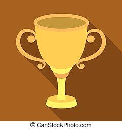 style, stockage, récompense, gagnant, symbole, or, courses, illustration., place., icône tasse, competition., vecteur, plat, unique, récompenses, premier, trophées