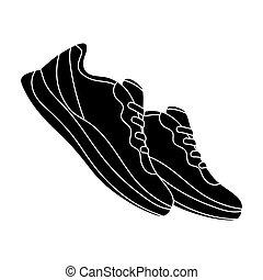 style, stockage, raster, symbole, bleu, noir, séance entraînement, .gym, icône, fôlatre chaussures, espadrilles, sports., unique, illustration., bitmap