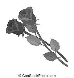 style, stockage, raster, symbole, roses, isolé, obseque, icône, cérémonie, deux, monochrome, arrière-plan., illustration., bitmap, blanc