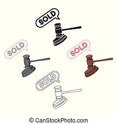 style, stockage, symbole, e-commerce, dessin animé, noir, isolé, icône, marteau, vecteur, arrière-plan., illustration., enchère, blanc