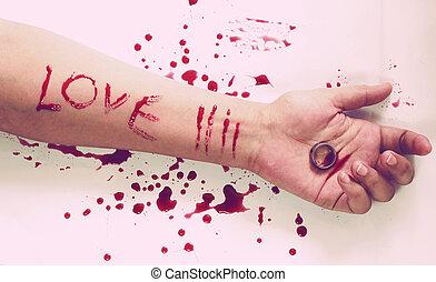 style, suicide, amour, messages, main femelle, anneau,...