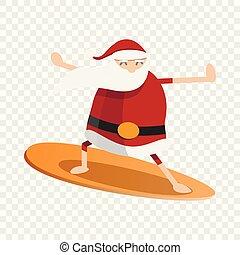 style, surfer, claus, santa, icône, dessin animé