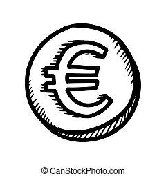 style, symbole, illustration, main, dessiné, monnaie, dessin animé, euro