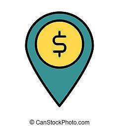 style, symbole, ligne, épingle, emplacement, remplir, dollar