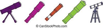 style, télescope, ensemble, couleur, icône, contour