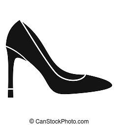 style, talon, icône, élevé, chaussure, simple