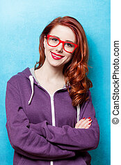 Style teen girl in red glasses