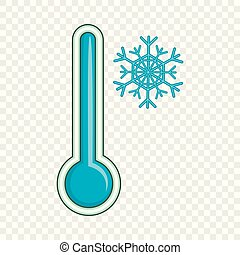 style, température, bas, thermomètre, icône, dessin animé