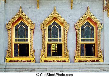 style, temple, thaï, bouddhisme, fenêtre