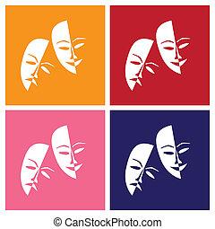 style, théâtre, -, chanceux, masques, triste, illustration, pop-art