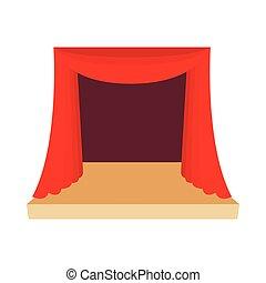 style, théâtre, rideau, icône, dessin animé, rouges, étape