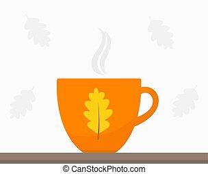 style, thé, coffee., ou, automne, tasse