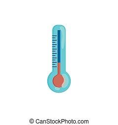 style, thermomètre, dessin animé, icône