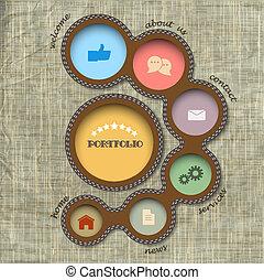style, toile, retro, template., vecteur, conception
