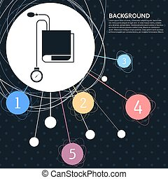 style., tonometer, ponto, icon., fundo, verificador, pressão, vetorial, sangue, infographic